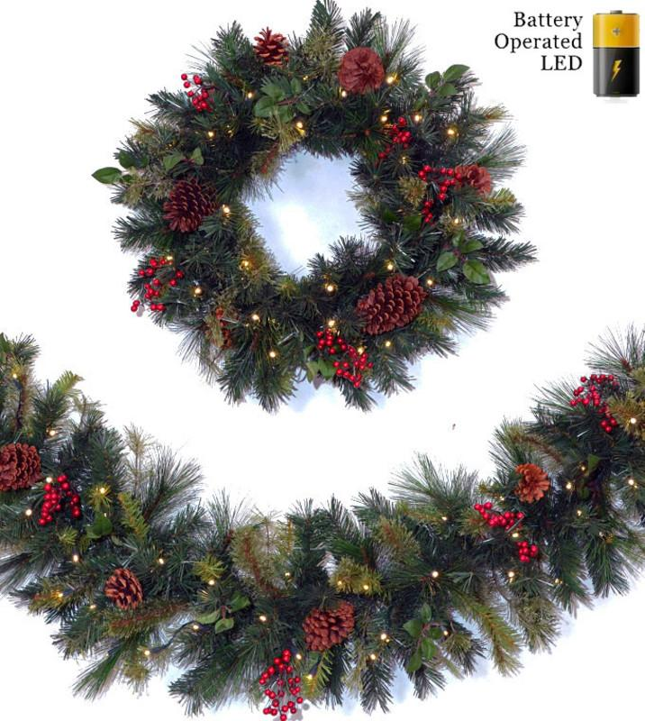 Battery Operated LED Christmas Wreaths & Garland