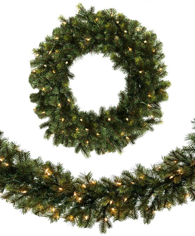 Wreaths & Garland with Clear Lights