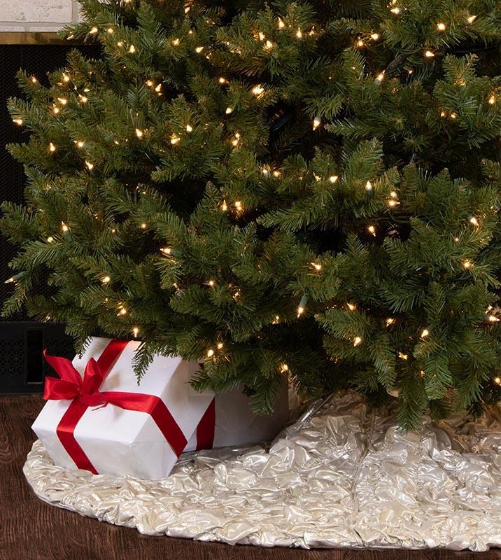Elegant Christmas Tree Skirts.60 Inch Platinum Simply Elegant Ruched Tree Skirt