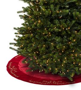 Embroidered Vine & Berry Tree Skirt  Christmas Rose Tree Skirt  Christmas  Red Pintucked Velvet ...
