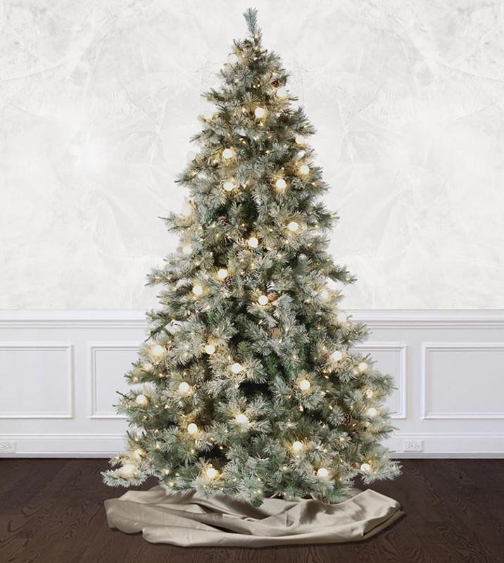 12 Ft Flocked Christmas Tree: Frosted Elegance Pine Flocked Artificial Christmas Trees