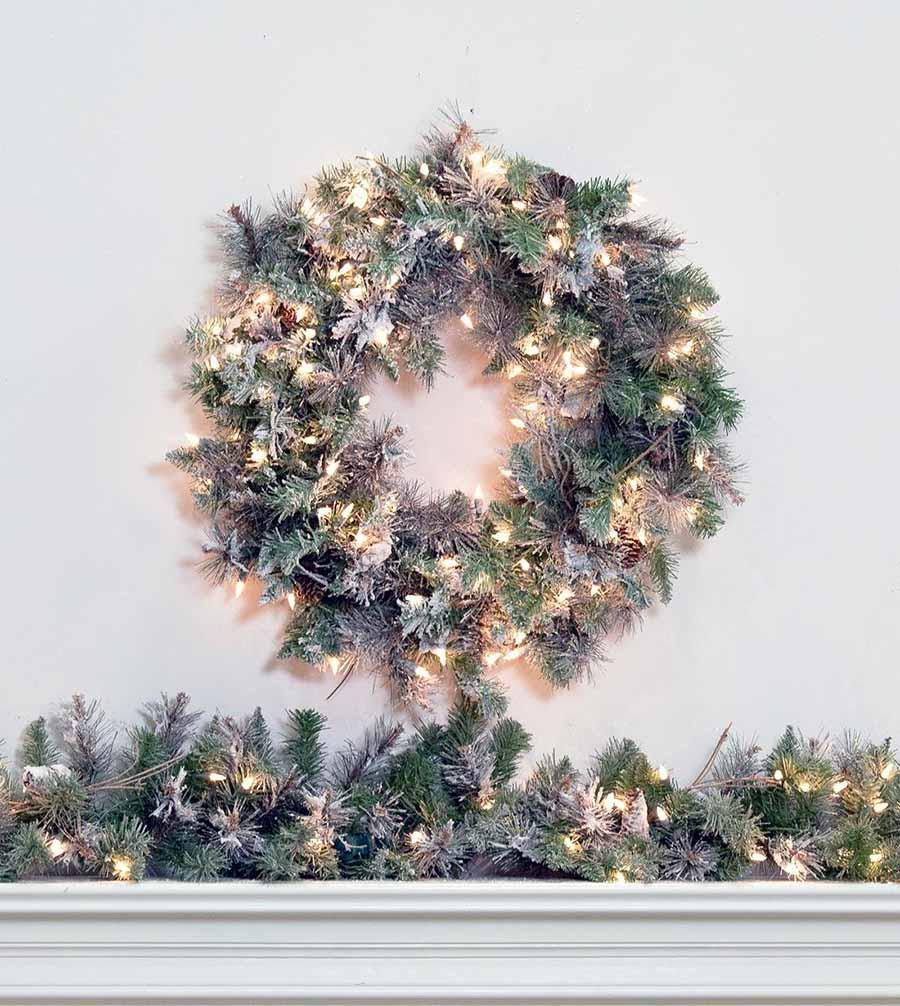 frosted virginia pine artificial christmas wreaths garland treetime - Artificial Christmas Wreaths Decorated