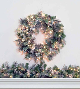 Frosted Virginia Wreath and Garland