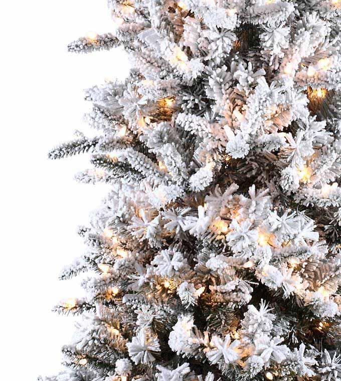 cheap for discount 5d450 3655d Slim Flocked Pencil Pine Artificial Christmas Trees ...