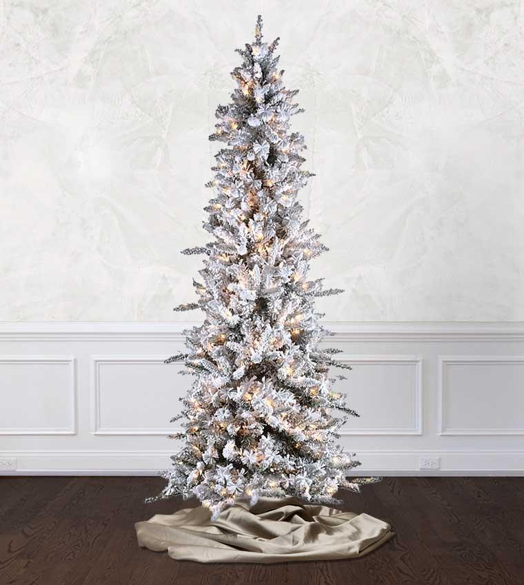 Slim Flocked Christmas Tree With Lights.Slim Flocked Pencil Pine Artificial Christmas Trees