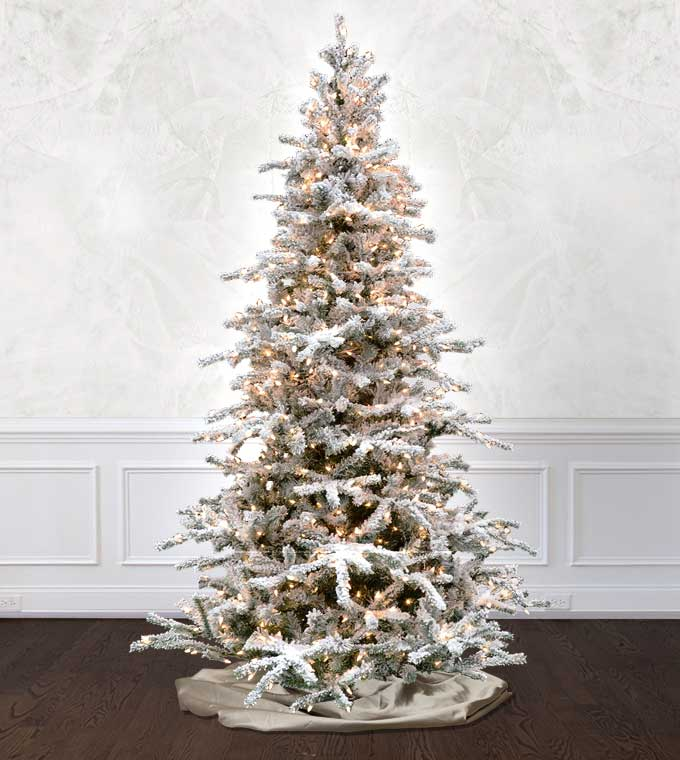 12 Ft Flocked Christmas Tree: White Forest Flocked Artificial Christmas Tree