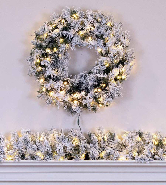 Flocked Pine Wreath Garland Set