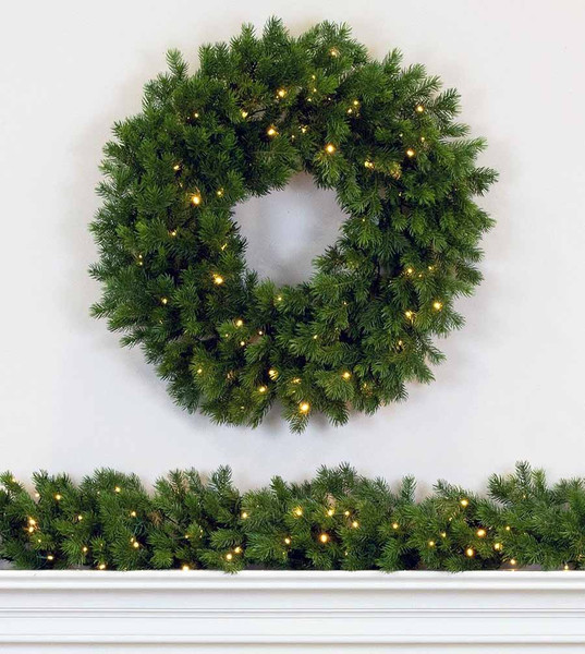 natural douglas wreath and garland - Battery Operated Christmas Wreaths