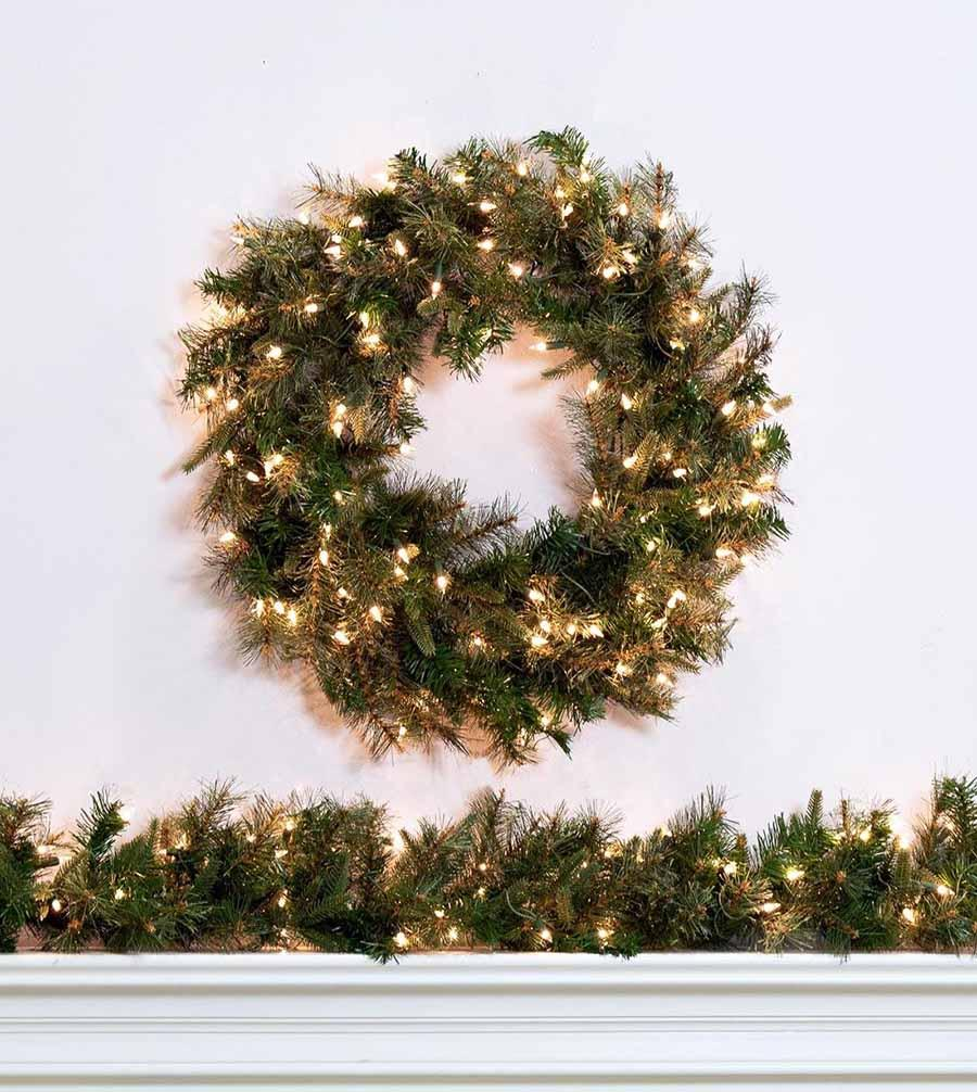 oxford pine artificial christmas wreaths garland treetime - Artificial Christmas Wreaths Decorated
