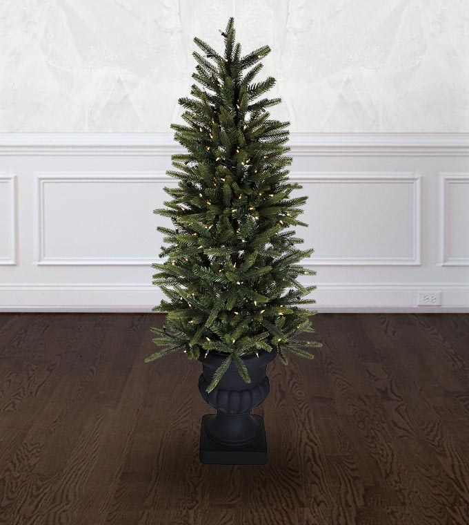 Potted Artificial Christmas Tree: Potted Spruce Artificial Christmas Trees