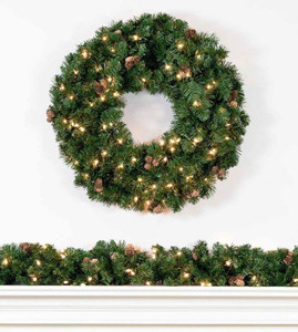 Artificial Christmas Wreaths Garland With Clear Lights Treetime - Christmas Wreath Lights